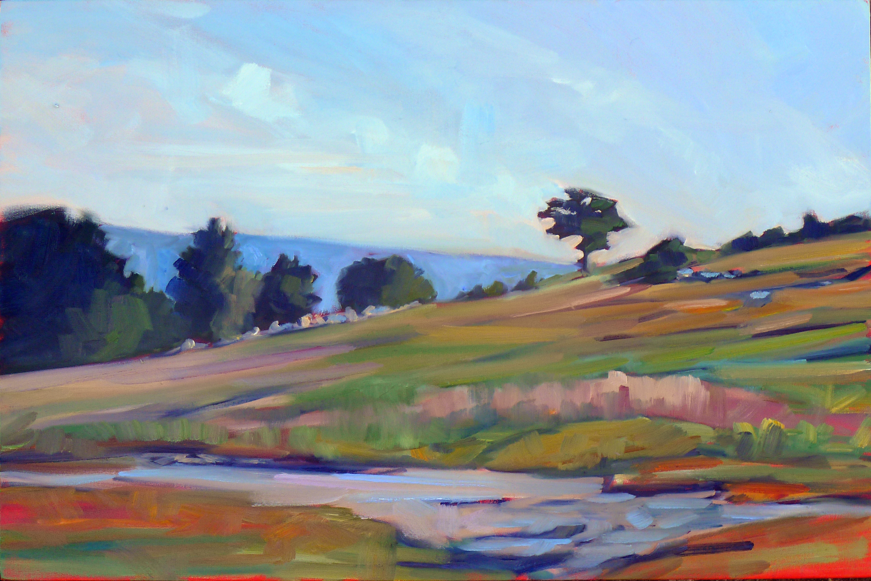"""Blueberry barrens, Clary Hill,"" oil on canvas, 24X36, available."