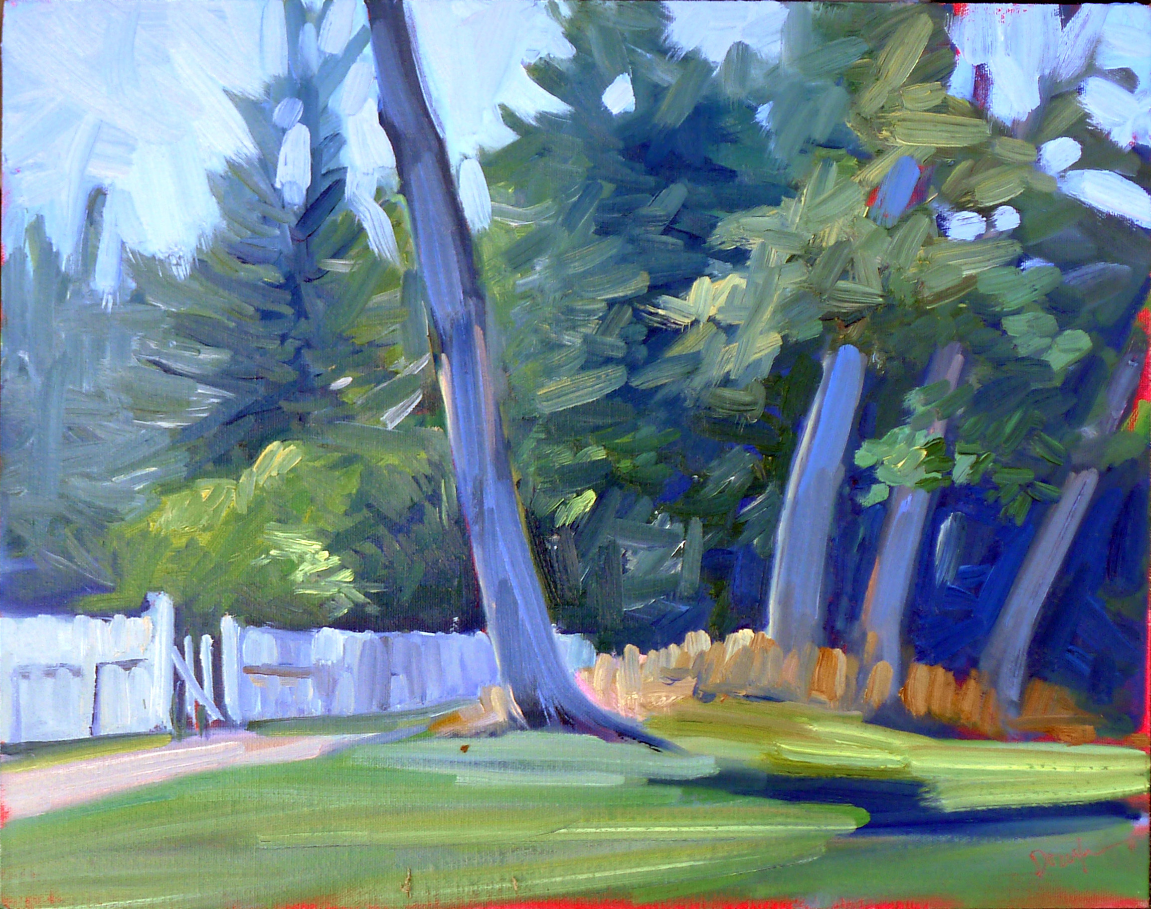 """Tom Sawyer's Fence,"" oil on canvasboard, available."