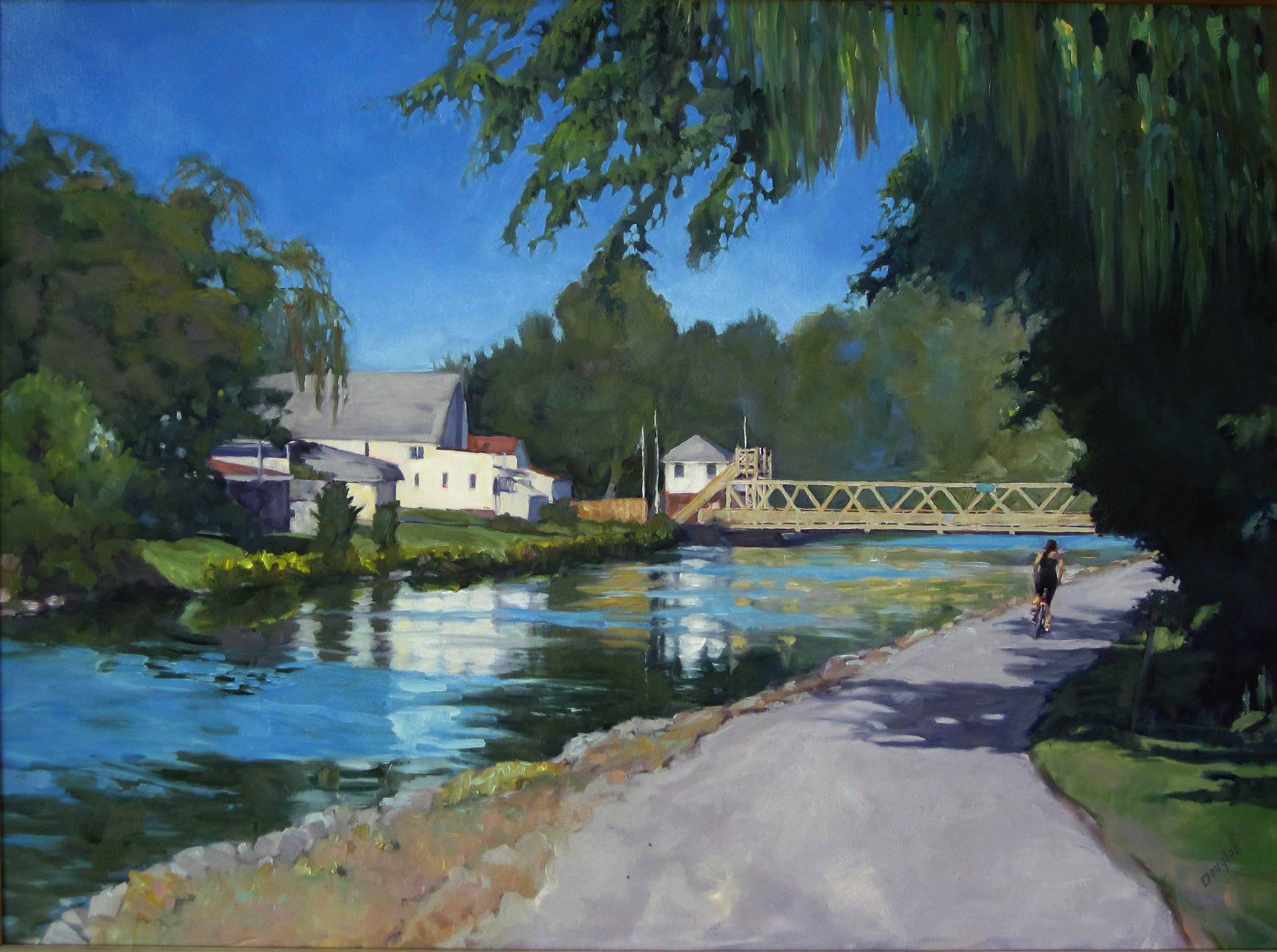 """Towpath on the Erie Canal,"" 30X40, oil on canvas."