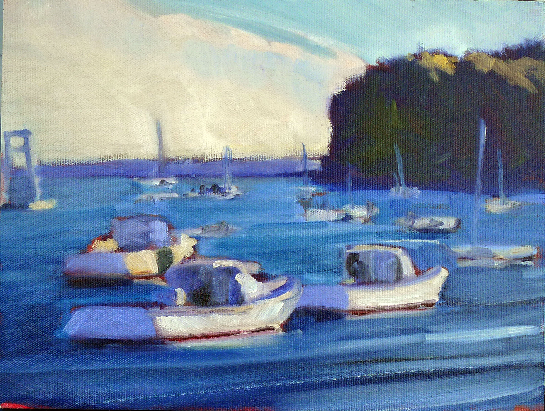 """Lobster fleet at Rockport harbor,"" plein air, 12X9, oil on canvasboard, available."